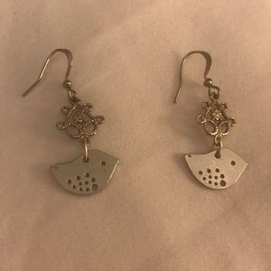 Silver Baby Birdling Dangle Earrings
